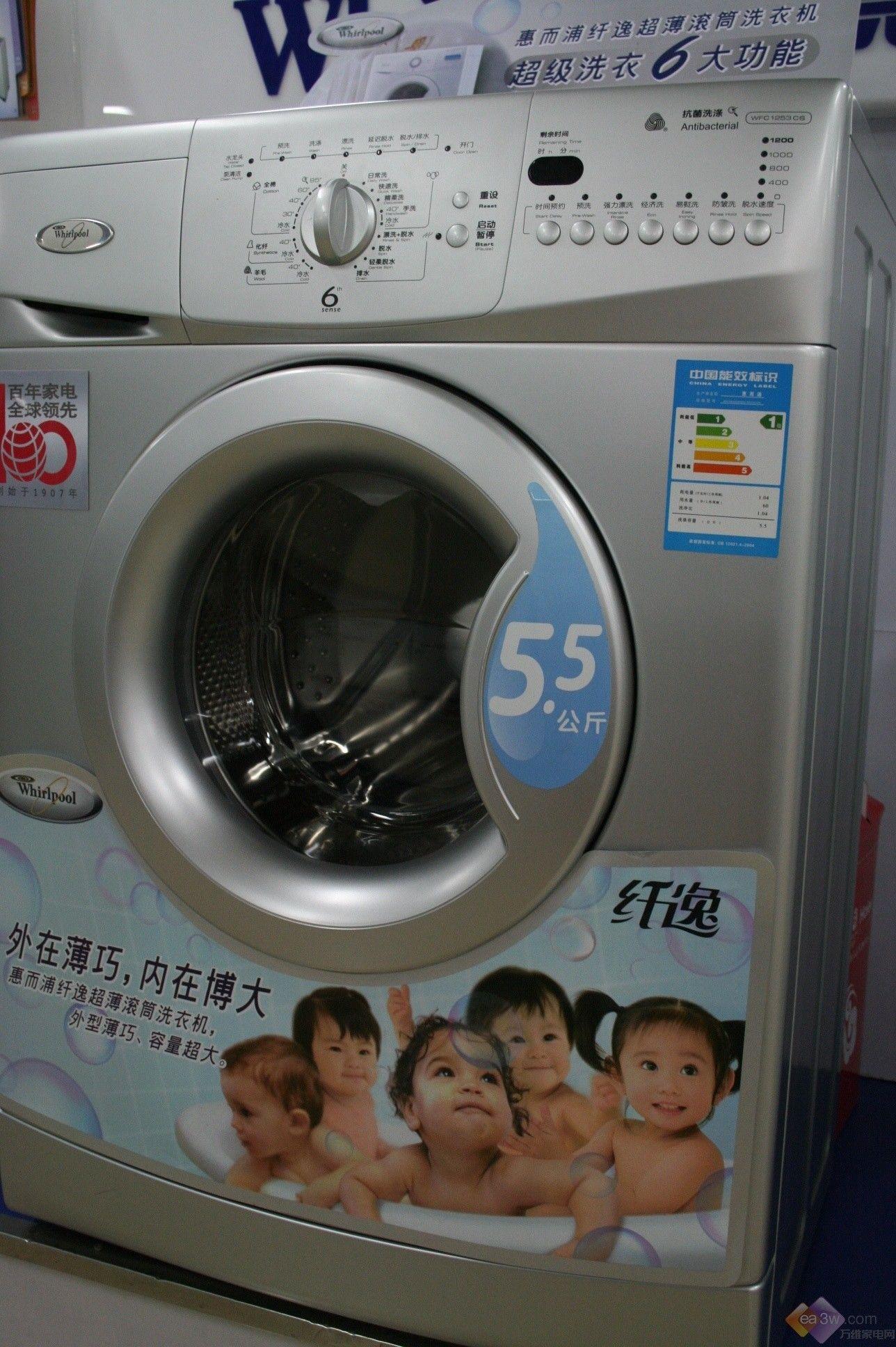 今年一月份,惠而浦隆重推出了纤逸系列洗衣机,目前该系列洗衣机已经正式在卖场销售。小编今天就为您介绍其中一款型号为WFC1253CW的洗衣机,该机在同等厚度的超薄洗衣机中容量是最大的。  这款洗衣机最突出的特点是机身只有44cm的厚度,容量却可达到5.2公斤,能够充分满足您的洗衣机需求,同时还不会占用居室太大空间。  惠而浦滚筒洗衣机WFC1253CW秉承了智逸系列洗衣机的多重智慧科技。这其中包括惠而浦独创