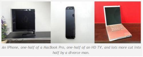 离婚男子切割iPhone等电子设备:一人一半