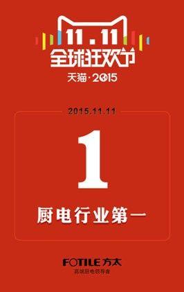 方太双十一电商平台销售额2.5亿 蝉联厨电行业第一