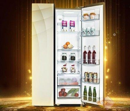 时尚玻璃面板 美的智能对开门冰箱热销中