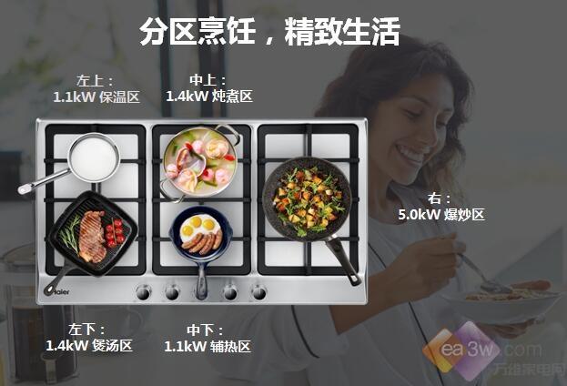 海尔5头灶多灶区烹饪太高能,并联时间效率全面提升