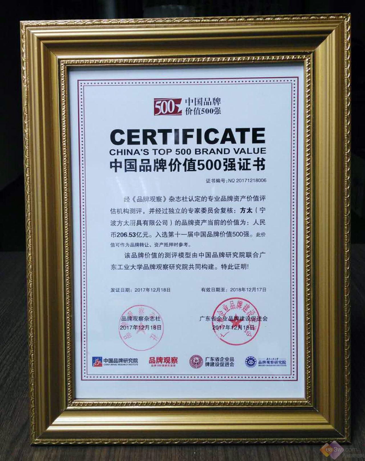 206.53亿!方太摘取中国品牌价值500强厨电行业第一宝座