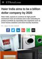 印度最大通讯社PTI报道称海尔印度正全面布局高端市场