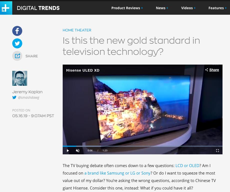 外媒评价叠屏电视:电视技术新的黄金标准来了?