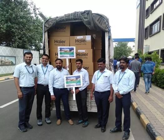海尔印度为洪灾严重地区捐赠物资