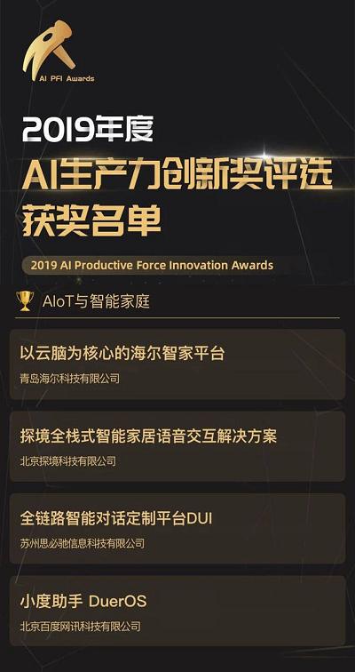"""以""""云脑""""为核心的海尔智家平台蝉联""""AI生产力创新奖"""""""