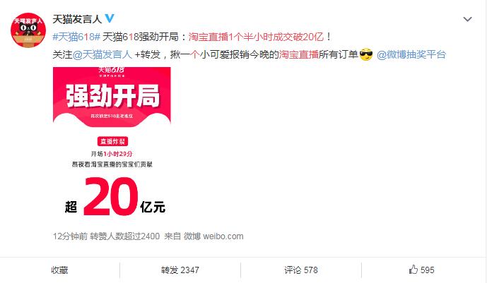 科技早闻:淘宝直播1个半小时成交破20亿,武汉首次无症状感染者当日零新增