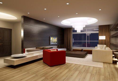 时尚创意电视背景墙 小户型客厅精装修