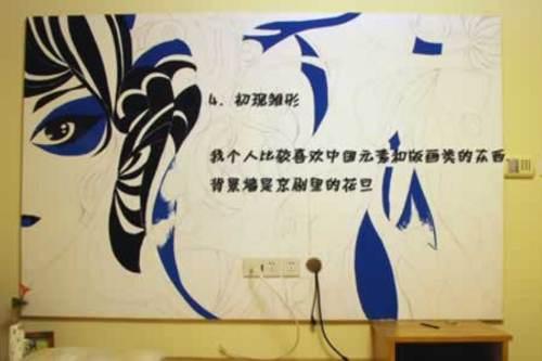 唯美中国风 靓mm手绘涂鸦电视背景墙
